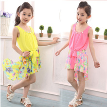Retail New Summer Kids Girl Chiffon Dresses Floral Beach Dress Children Casual Clothes Baby Girls Fashion Costume Size 2-13T