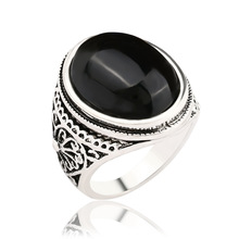 Silver Antique Rings Big Oval Black Red Stone Ring Designs Carved Black Onyx Jewelry Aneis Vintage For Women Men
