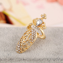2016 New Arrival Charm Hollow Crystal Rhinstone Crown Nail Ring For Women 5R003
