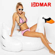 DMAR Inflatable Swan Giant Goose Pool Float Toys 150cm Inflatable Mattress Mat Air Swimming Ring Circle Beach Water Party Toys