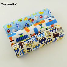 New Arrival Cartoon Car and Plane Pattern 4 Pieces 100% Cotton Fabric Twill Fat Quarter Materials Bundle for Quilting Sewing Toy