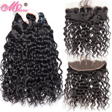 Brazilian Water Wave Human Hair Weave 3 Bundles With Lace Closure Frontal MShere Ear To Ear Closure With Non Remy Hair Bundles(China)