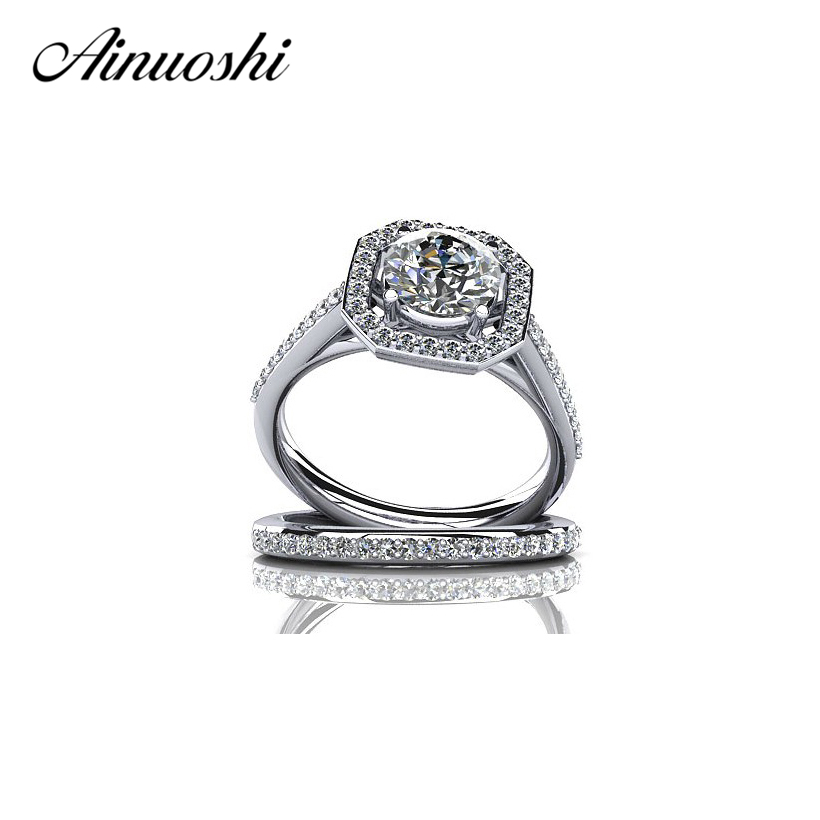 AINUOSHI Halo Ring 925 Sterling Silver Wedding Engagement Ring Set Women SONA NSCD Round Cut Promise Jewelry Gift Girl Ring Set
