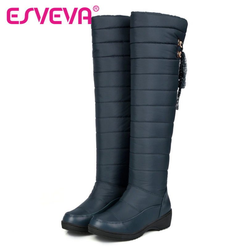 ESVEVA 2017 Winter  Warm Shoes Women Knee High Boots PU Leather Wedges Med Heel Women Boots Black Slip on Snow Boots Size 34-43<br><br>Aliexpress