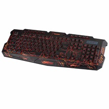 Russian Version Excelvan Gaming Keyboard with 3-Colors Adjustable LED Backlight USB Wired Pro Gamer Keyboard for Desktop LOL(China)