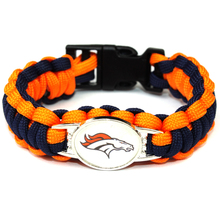 2017 Hot New NFL Football Fans Denver Broncos Charm Paracord Survival Bracelet Friendship Outdoor Camping Bracelet 6pcs/lot