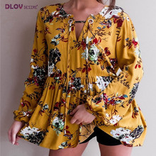 Bohemia Print Feminino New O-Neck Tops Casual Sexy Women Clothing blusas 2018 Summer Casual All Match Button Flare Sleeve TS106(China)