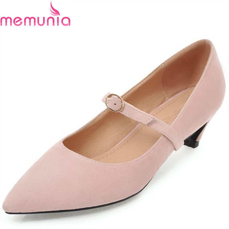 MEMUNIA 2018 new simple buckle female high heels shoes wedding shoes spring med heels pointed toe high quality bridal shoes<br>