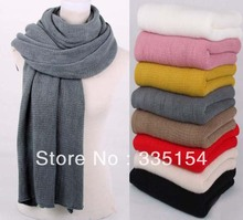 2013 Autumn Winter Crocheted Knitted Acrylic Scarf Plain Color Pashmina Shawls Wraps 258g 6colors 5pcs/lot(China)