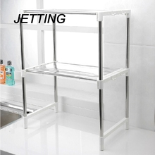 JETTING Multifunctional Microwave Oven Shelf Rack Stainless Steel Adjustable Standing Type Double Kitchen Holder Bathroom Shelve(China)