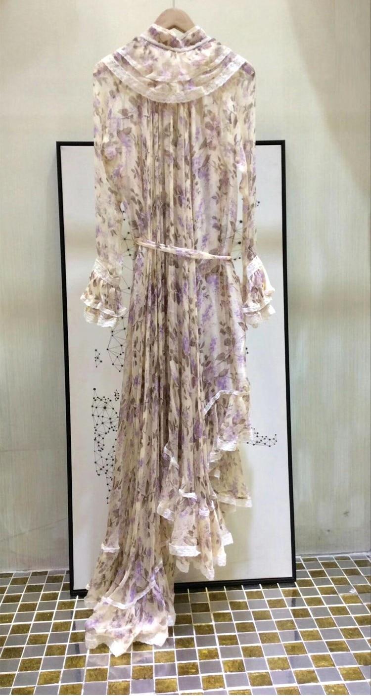 Women Long Sleeves Layered Cuffs Lavender Floral Print Asymmetrical Dress Silk Maxi Dress 7
