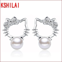 Silver plated Shambhala Super Flash crystal stone imitation pearl earrings fashion Hello Kitty jewelry 8MM