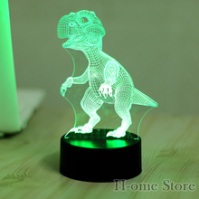 7 Color Dinosaur Lamp 3D Visual Led Night Lights for Kids Touch USB Table Lampara  Lampe Baby Sleeping Nightlight