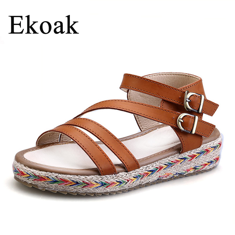 Ekoak Size 34-43 New 2017 Fashion Gladiator Sandals Summer Shoes Woman Wedges Platform Sandals Ankle Strap Casual Beach Shoes<br><br>Aliexpress