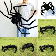 Halloween House Decoration 1 PC Hot Sale Funny Black Spider Props Trick Fake Bugs Scary Prank Toys Halloween Props(China)