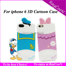 New Arrival Cool 3D Cartoon mini mouse silicon cover soft back case for iphone 6,Donald silicon cover for iphone 6 4.7""