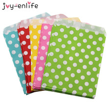 JOY-ENLIFE 25pcs 13x18cm Kraft series Mini Polka Dot Bags Popcorn Bags Party Food Paper Bag For Wedding Birthday Party Supply(China)