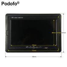 "Podofo 7"" Color TFT LCD DC 12V Car Monitor Rear View Headrest Display With 2 Channels Video Input For DVD VCD Reversing Camera(China)"