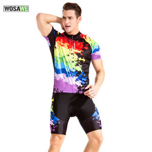 WOSAWE Short Sleeve Jersey Specialized Cycling Clothing Set Suit Gel Bib Shorts Sport Cycling Mountain Bike Riding Wear
