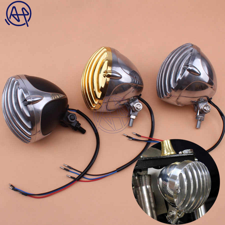 Scalloped Chrome Taillight Motorcycle Finned Grill LED License Plate Light Lamp