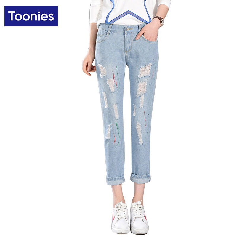Straight Jeans Women Fashion New Arrival Ankle-Length Denim Pants Female Multi Holes Vintage Zipper Jeans Mid Waist BF CasualОдежда и ак�е��уары<br><br><br>Aliexpress