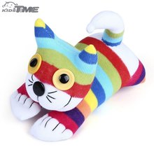 2016 New Arrival Baby Handmade Cartoon Rainbow Striped Sock Cat Soft Doll Stuffed Animals Toy Children Christmas Birthday Gift