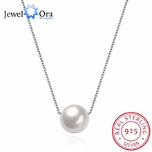 Solid 925 Sterling Silver Necklace With Box Chain Fashion Simulated Pearl Necklaces & Pendants For Women (JewelOra NE101864)(China)