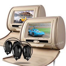 "2x7"" Car Headrest DVD Player Rear Seat TV Cover With Zipper Support 32 & 8 Bits Game 2 Modes To Play IR FM USB SD Pillow Monitor"
