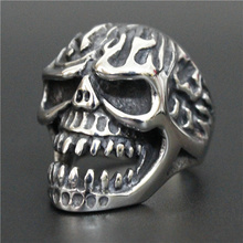 Size 8-13 Heavy Huge Fire Flam Skull Ring 316L Stainless Steel Cool Cross Ghost Skull Biker Ring(China)