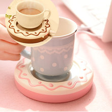DC 5V Biscuit Shaped USB Cookie Mug Drink Tea Coffee Beverage Cup Warmer Coaster Heater Hot Drinks