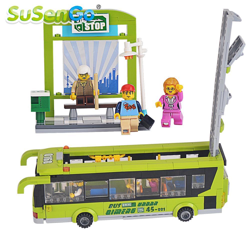 School Bus Building Blocks Bus Station Model Figures Children Gift Kids Educational Toys<br><br>Aliexpress
