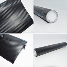 New 300cm*30cm Waterproof DIY 3D Car Sticker Car Styling Car Carbon Fiber Vinyl Wrapping Film With Black White(China)