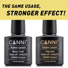 CANNI Brand Full Nail Art UV led fast dry Varnish Rubber base coat long lasting no wipe bright shiny Topcoat uv gel nail polish
