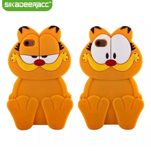 SC58 3D Cartoon Animal Garfield Silicone Phone Cases Covers For iPhone 5 5s 6 6s Plus SE Mobile Phone Shockproof Back Shell