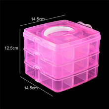 Fold 3 layer nail art decor storage box plastic empty cosmetic containers makeup packaging nail dust collector manicure case