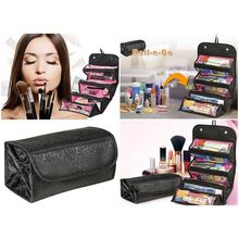 Travel Roll-up Cosmetic Makeup Case Foldable Organizer Pouch Hanging Toiletry Wash Bag Storage Bags 4 zipper compartment
