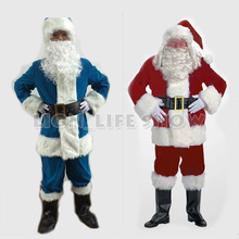 Cheap Red Blue Christmas Costumes Santa Claus For Adults 4 size 9 pieces/set(China)