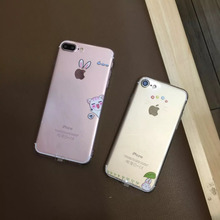 Cute Cat Rabbit Pattern Case Cover For iphone 6 6s plus 7 7 Plus Slim Transparent Soft Silicone Cell Phone Cases +Dust plug  C61