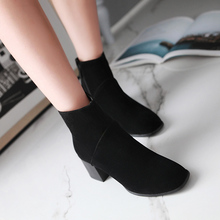 Big Size 34-43 Fashion Women Ankle Boots Suede Leather Women Snow Boots Pure color Thick Heel Women Shoes