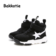 Bakkotie Autumn Fashion Baby Girl High Top Sport Shoe Kid Brand Leisure Sneaker Yellow Breathable Child Shoe Black Boy Toddler