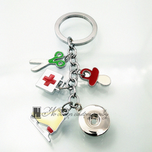 color enamel Roller skates, scissors, pharmaceutical package dangle Key Ring 12 mm snap button Key Chain key rings gift(China)