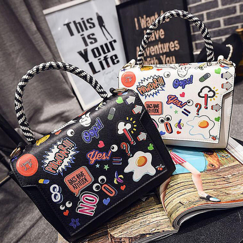 2017 Fashion Women Tote Graffiti Brand Leather Handbags Cartoon Printing Crossbody Shoulder Bag Sacthel Purse bolsas Mujer Li525<br><br>Aliexpress