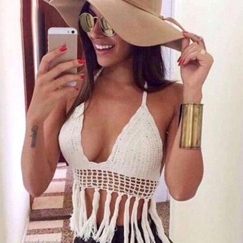 Перейдите на праздник рука крючком бикини кисточкой бюстгальтер ремешок Пляж купальный костюм делает ручную работу нежный приморский пляж...(China)