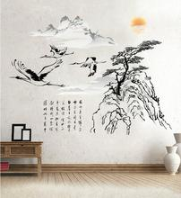 Classic traditional Chinese painting calligraphy crane tree mountain wall sticker for living room bedroom wall decal home decor(China)