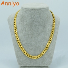 Anniyo Length 47/51cm,Width 9mm/ Man Gold Necklace Gold Color Brass Man's Chain Jewelry Africa Thick Chains Husband #010102