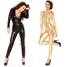 Buy S~XL Black Gold Women Sexy Shiny Leather open bust Catsuit Patent Leather Latex Bodysuit Fetish Lingerie Maid Exotic Clubwear