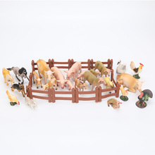 18cm Cartoon Animals Pasture Farm World cow pig chicken duck sheep horse rabbit Models doll toys christmas gift(China)