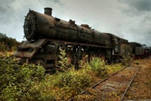 Home decoration Nature trains railroad tracks vehicles rusted steam locomotives Silk Fabric Poster Print QX239