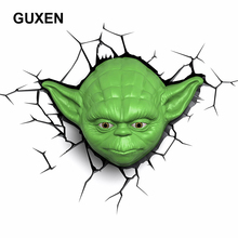 Guxen Star Wars Yoda 3D Deco Green Plastic Wall Creative Night Light For Boy Child Bedroom Sleeping LED Lighting(China)