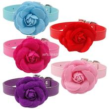 Flower Cat Collar PU Leather Dog Pet Collars  Pink  Red Purple Blue Rose Neck For 8-18""